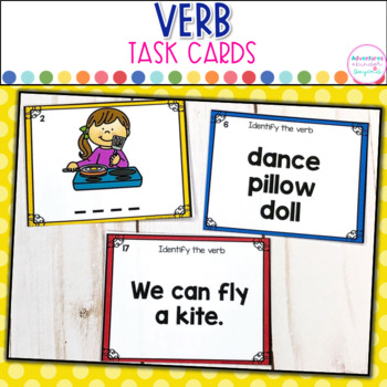 Verb Task Cards- 3 Differentiated Activities