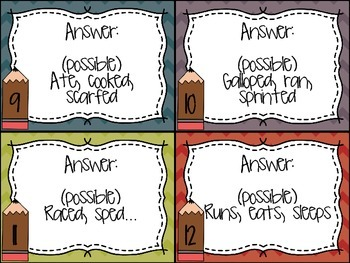 Verb Task Cards (32 cards and answer cards included)