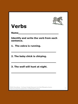 Verbs Task Cards Animals Theme