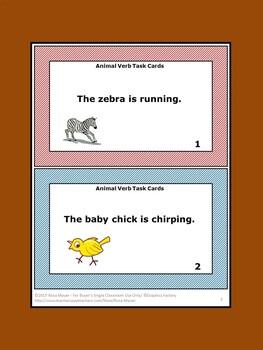 Verbs Task Cards Animals Theme