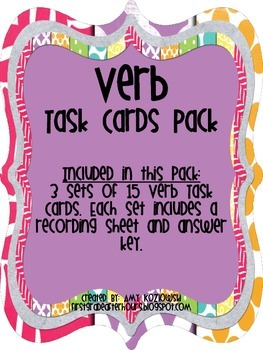 Verb Task Cards Pack