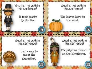 Verb Task Cards - Thanksgiving