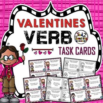 Verb Task Cards - Valentine's