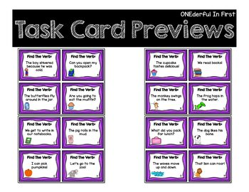 Verb Task Cards and Recording Sheet