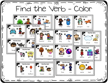 Kindergarten Verb Task Cards with Anchor Charts & Games