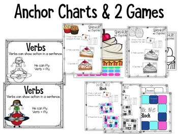 Kindergarten Verb Activity: Task Cards with Poster & Games