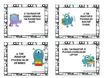 Verb Task Cards (monster themed)