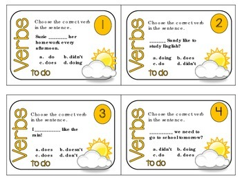 Mastering Verbs Task Cards {to do / modal verbs 24 cards + QR Code Check}