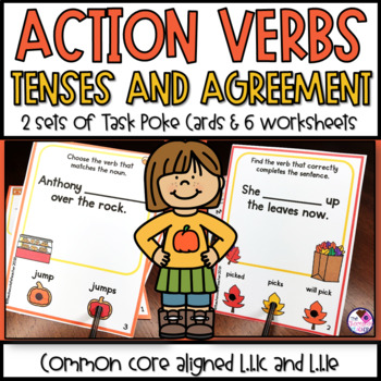 Verb Task Poke Card Activities & Worksheets 2 sets CCSS Aligned Fall Themed