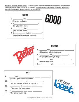 Tener Guided Notes and Practice Exercises