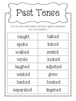 Verb Tense Balloon Pop FREEBIE!