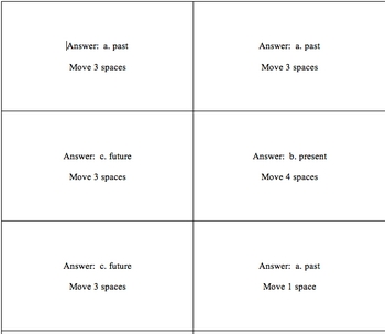 Verb Tense Board Game Cards