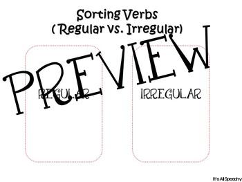 Verb Tense Playing Cards : Game Irregular and Regular Verbs, Sorting