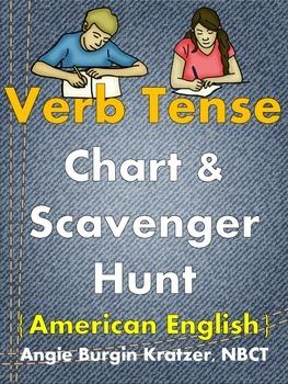 Verb Tense Chart & Scavenger Hunt {Regular Verbs, American English}