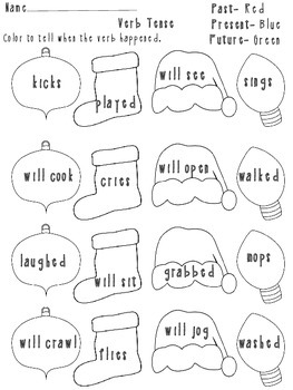Verb Tense Christmas Theme Activity