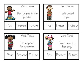 Verb Tense Clip-it - Simple Verb Tenses - Verbs - Verb Tense Activity