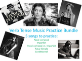 Verb Tense Conjugation Practice with Music Bundle