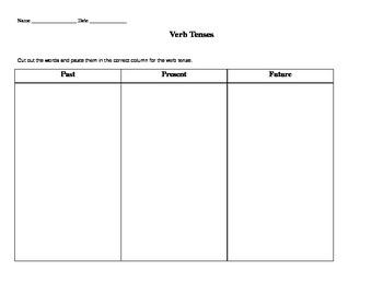 Verb Tense Cut and Paste Worksheet