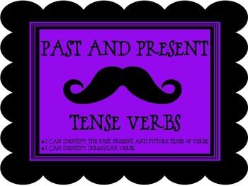 Verb Tense & Irregular Verbs Task Cards / Center - Mustach