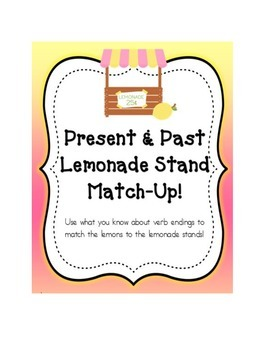 Verb Tense Lemonade Stand Sorting Game