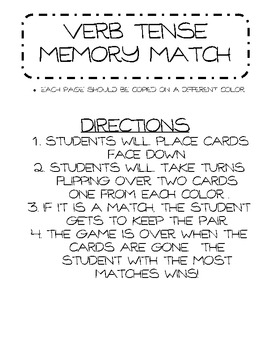 Verb Tense Memory Match