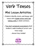 Action and Helping Verb Tense practice activities and assessment