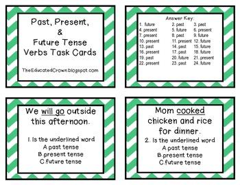 Verb Tense (Past, Present, Future) Task Cards