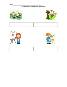 Verb Tense Picture/Sentence Match-Up