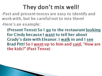 Verb Tense Powerpoint, Guided Notes and Graphic Organizer