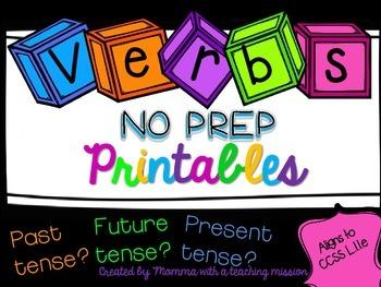 Verb Tense Printables Literacy Center L.1.1