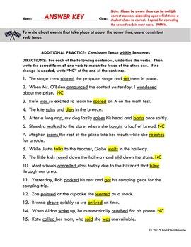 Verb Tense Shifts Within Sentences:  Worksheet