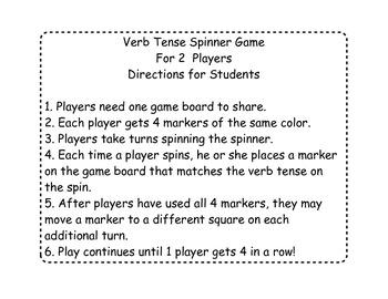 Verb Tense Spinner Game