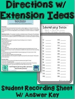 Verb Tense Task Cards: Identifying Tense