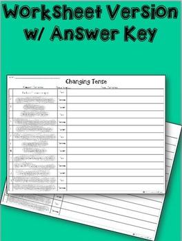 Verb Tense Task Cards: Changing Tense