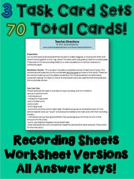 Verb Tense Task Cards Bundle: 70 multi-level task cards & worksheets