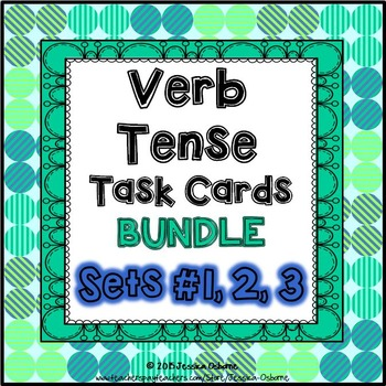 Verb Tense Task Cards Bundle: 70 multi-level task cards &