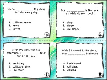 Verb Tense Task Cards (Past, Present, Future, Perfect)