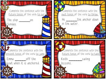 Verb Tense Task Cards with QR Code Options
