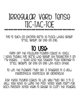 Verb Tense Tic-Tac-Toe
