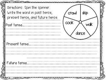 Verb Tense Using Spinner Literacy Center L.1.1