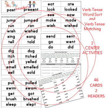 Verb Tense Word Sort and Verb Tense Matching (2 CENTERS)