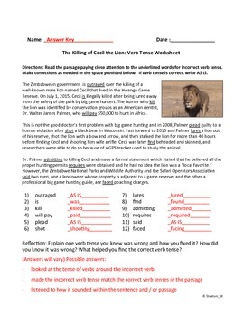 Verb Tense in Context Worksheet about Killing of Cecil the Lion in Africa