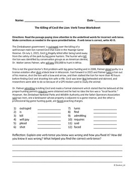 Verb Tense in Context Worksheet about Killing of Cecil the
