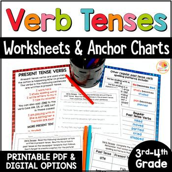 Verb Tenses Worksheet 1st Grade   Teachers Pay Teachers