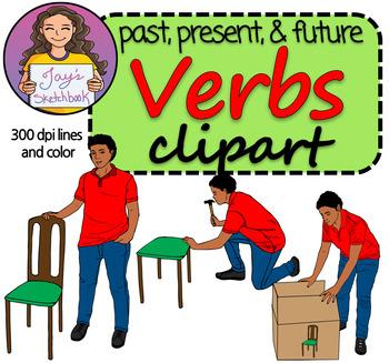 Verb Tenses Clipart - Past, Present, and Future