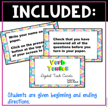 Digital Task Cards for Verb Tenses for Google Slides