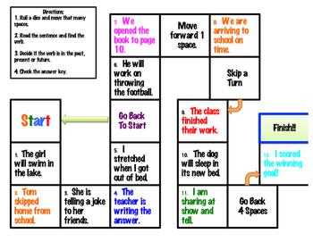 Verb Tenses Game Board