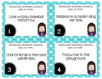 Verb Tenses Grammar Task Cards, Games, and Centers