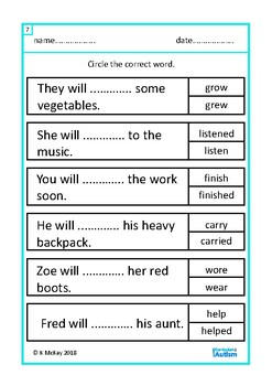 Verb Tenses Grammar Worksheets Autism Special Education Speech ESL