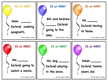 Verb Tenses: Is, Are, Was, & Were Balloons